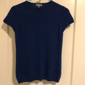 Neiman Marcus Blue Short Sleeve Cashmere Sweater